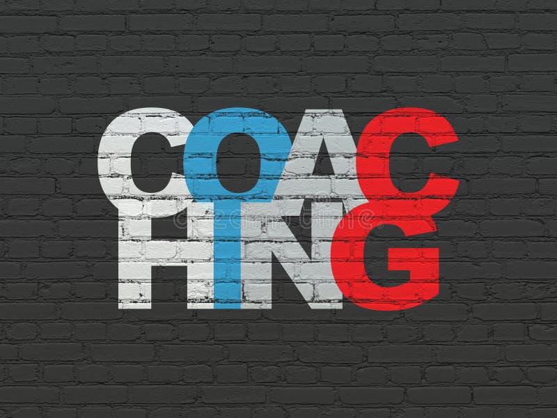Utbildningsbegrepp: Coachning på väggbakgrund arkivfoto