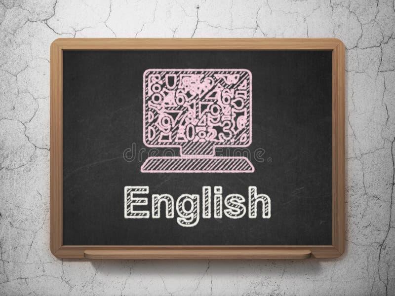 Utbildningsbegrepp: DatorPC och engelska på svart tavlabakgrund arkivfoto