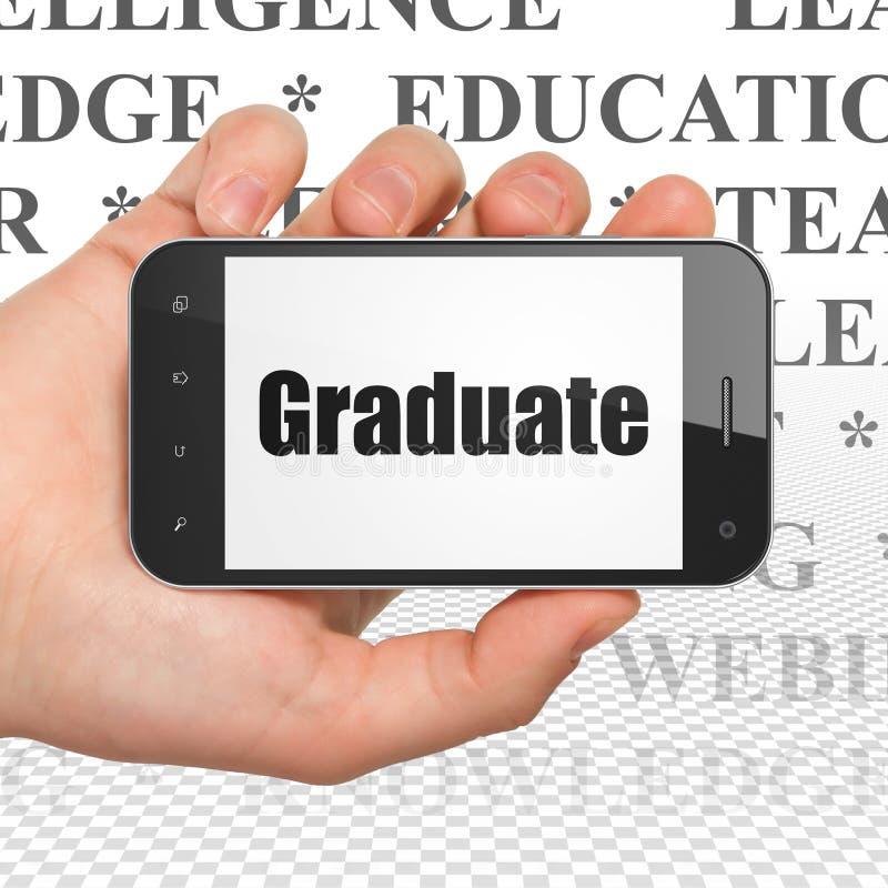 Utbildningsbegrepp: Hand som rymmer Smartphone med kandidaten på skärm royaltyfri illustrationer