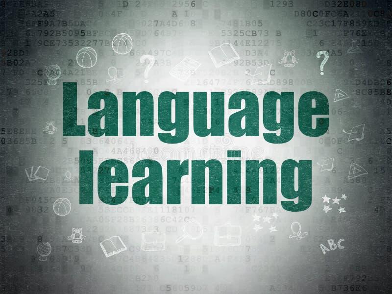 Utbildningsbegrepp: Lära för språk på pappersbakgrund för Digitala data arkivfoto