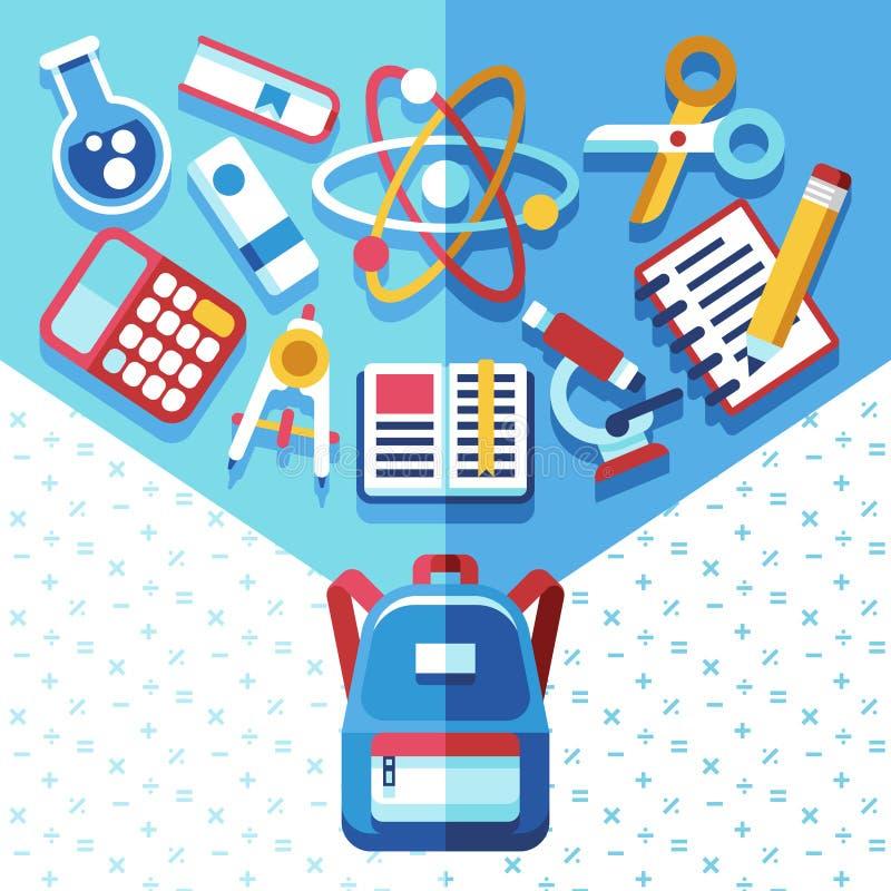 Utbildningsbegrepp med ryggsäcken och tillförsel Dra tillbaka till skolavektorbakgrund med skolväskan stock illustrationer