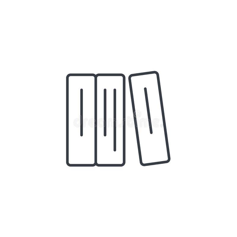 Utbildningsbok, arkiv, tunn linje symbol för litteratur Linjärt vektorsymbol royaltyfri illustrationer