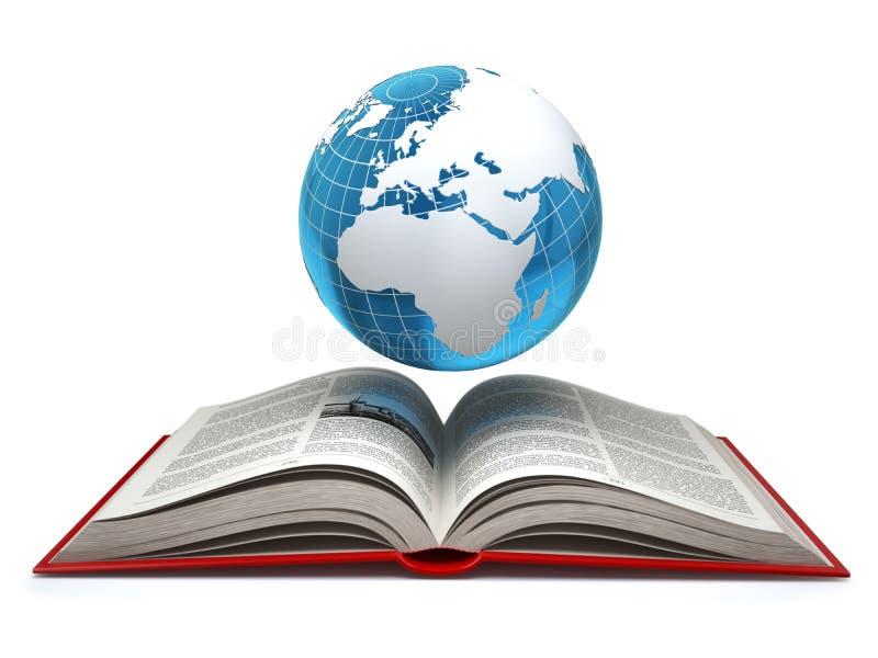 Utbildningsinternete-lärande begrepp Jord och öppnar bokisola stock illustrationer