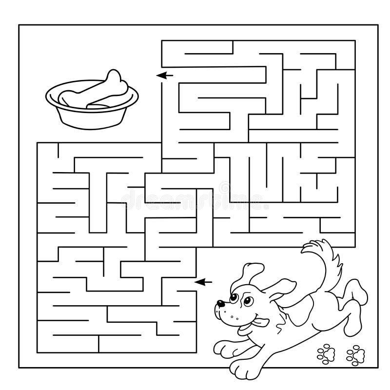 Utbildningslabyrint eller labyrintlek för förskole- barn Pussel Färga sidaöversikten av hunden med benet Färgläggningbok för unga stock illustrationer