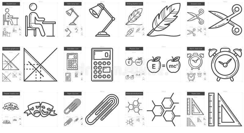 Utbildningslinje symbolsuppsättning royaltyfri illustrationer