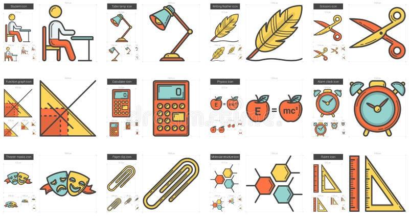 Utbildningslinje symbolsuppsättning vektor illustrationer