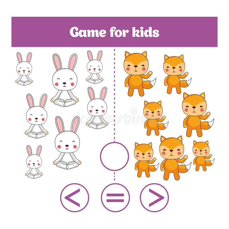 Utbildningslogiklek för förskole- ungar Välj det korrekta svaret Mer, mindre eller jämbördig vektorillustration royaltyfri illustrationer