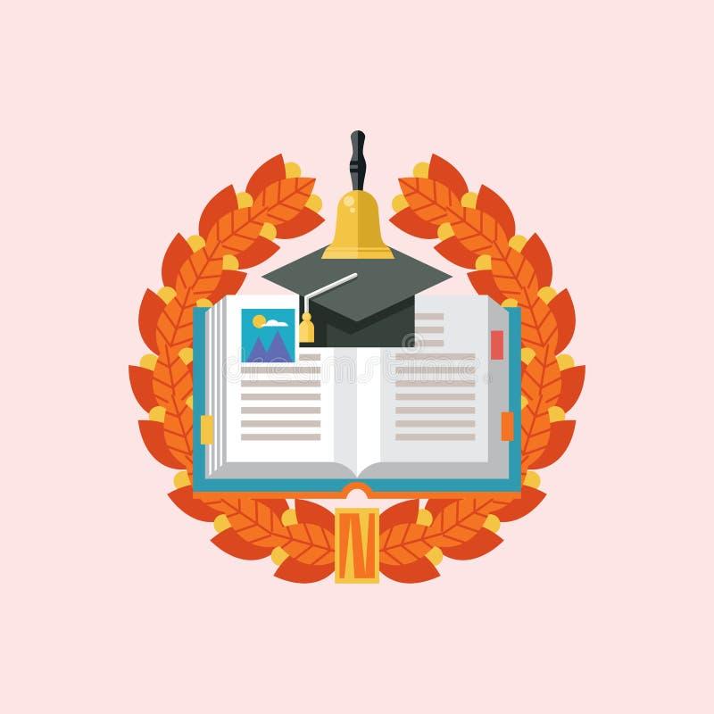 Utbildningslogo Emblem av utbildningsinstitutionen, skola, Colle royaltyfri illustrationer