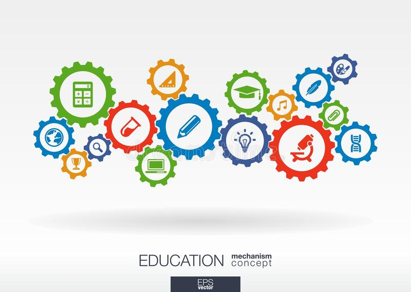 Utbildningsmekanismbegrepp Abstrakt bakgrund med förbindelsekugghjul och symboler för elearning, kunskapsbegrepp royaltyfri illustrationer