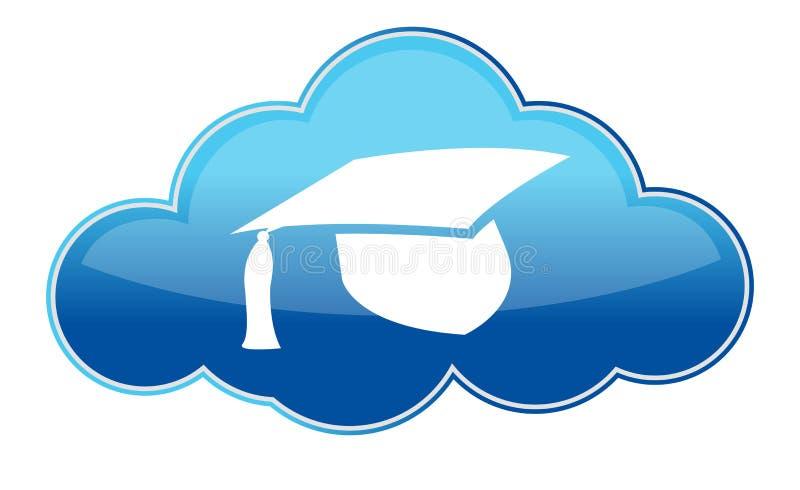 Utbildningsonline-symbol på vit stock illustrationer