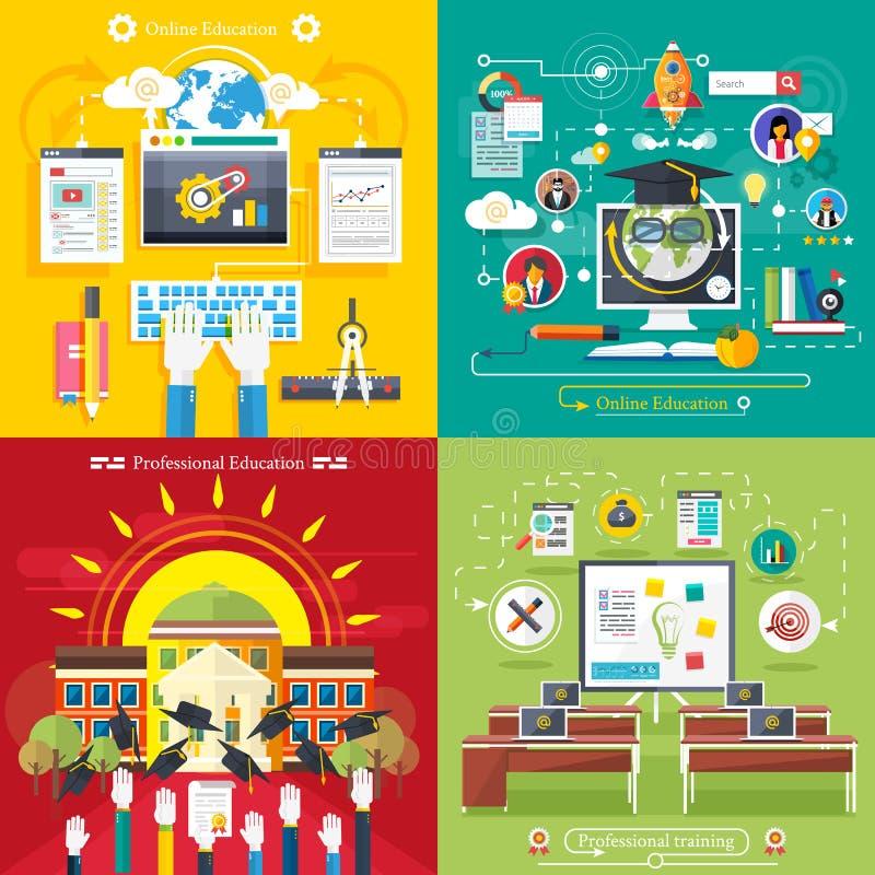 Utbildningsonline-utbildningsyrkesutbildning stock illustrationer