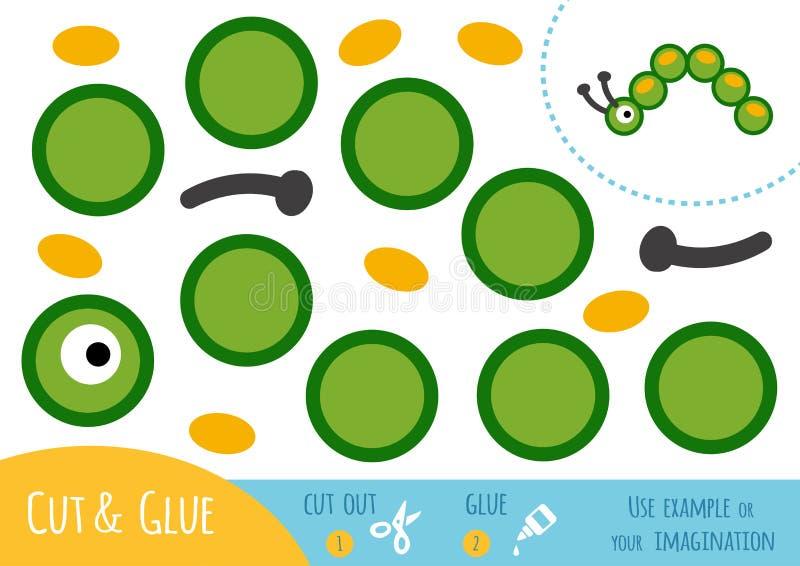 Utbildningspapperslek för barn, Caterpillar royaltyfri illustrationer