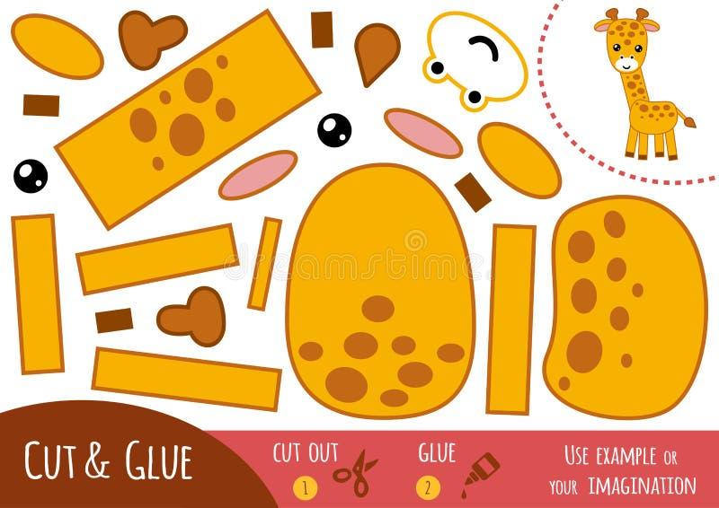 Utbildningspapperslek för barn, giraff stock illustrationer