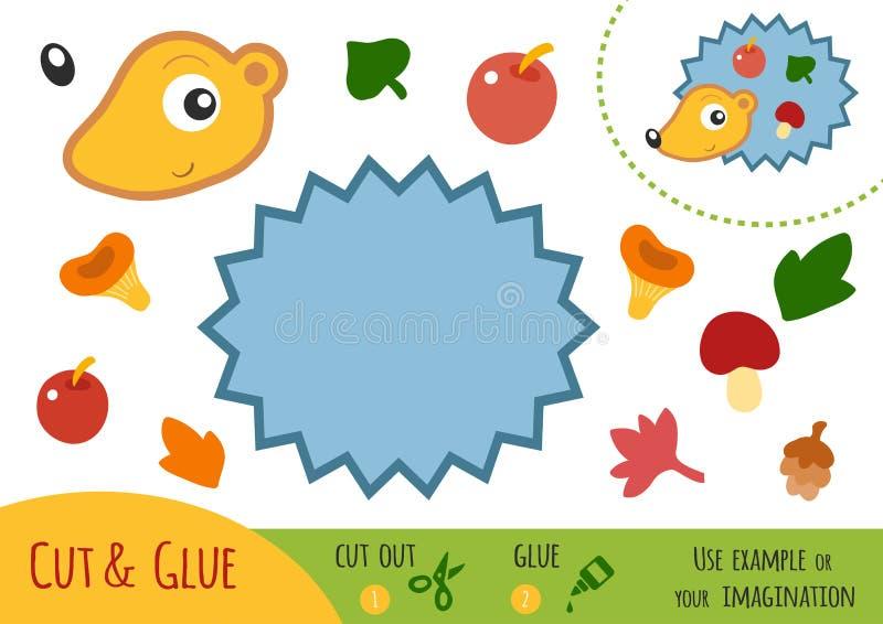 Utbildningspapperslek för barn, igelkott royaltyfri illustrationer