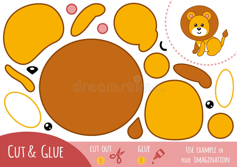 Utbildningspapperslek för barn, lejon stock illustrationer