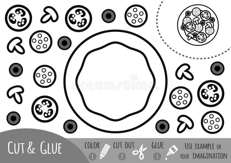 Utbildningspapperslek för barn, pizza vektor illustrationer