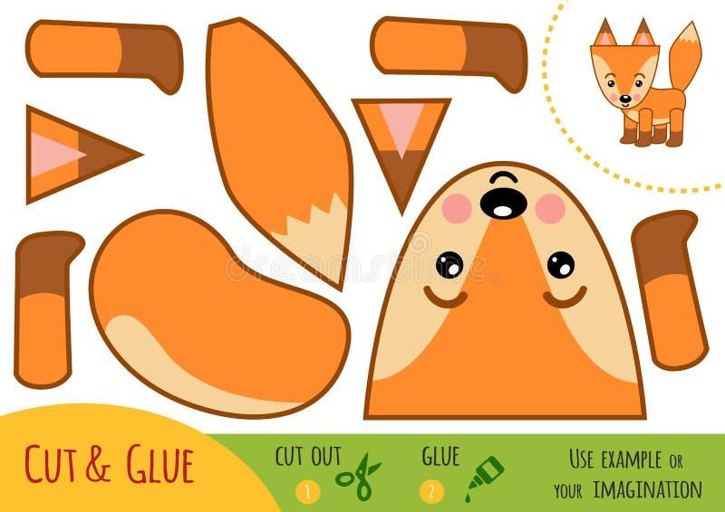 Utbildningspapperslek för barn, räv vektor illustrationer
