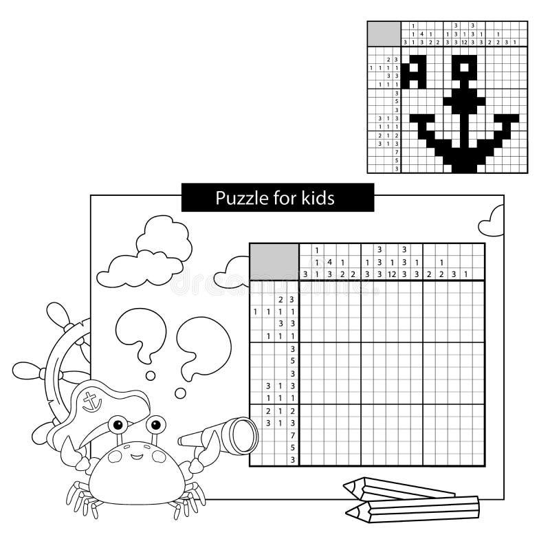 Utbildningspussellek för skolbarn förfäder Svartvitt japanskt korsord med svar stock illustrationer