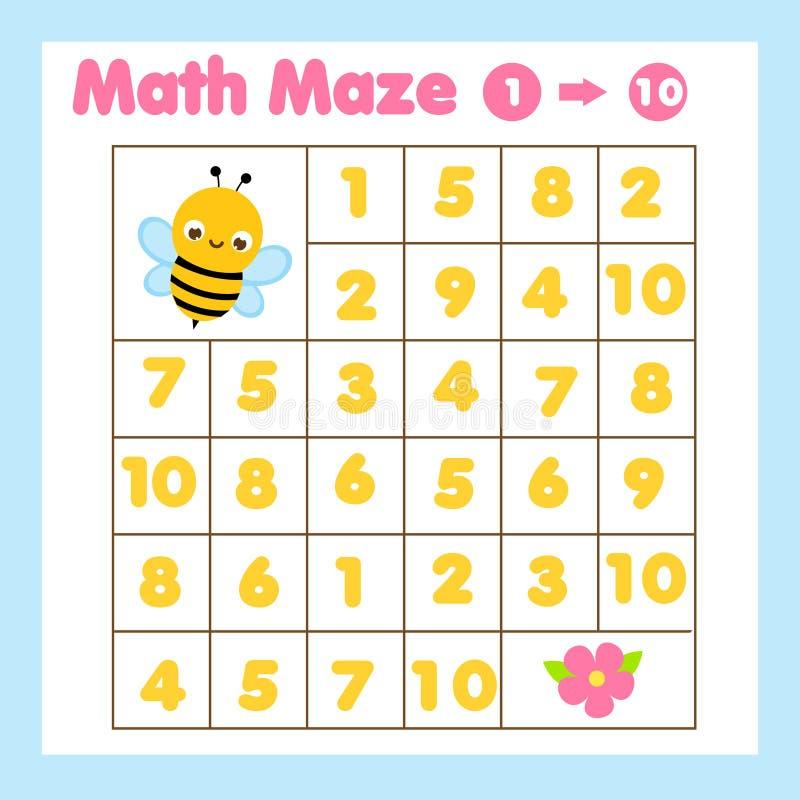 Utbildningsspel för barn Matematik labyrint med siffror från ett till tio Hjälpbin hittar blomma stock illustrationer