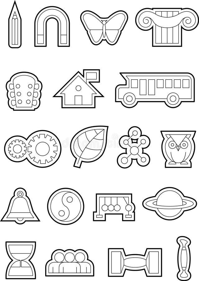 Utbildningssymboler b&w-01 arkivfoto