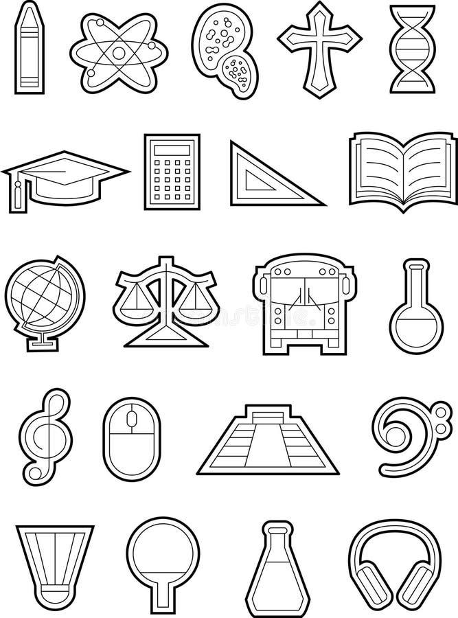 Utbildningssymboler b&w-02 arkivbild