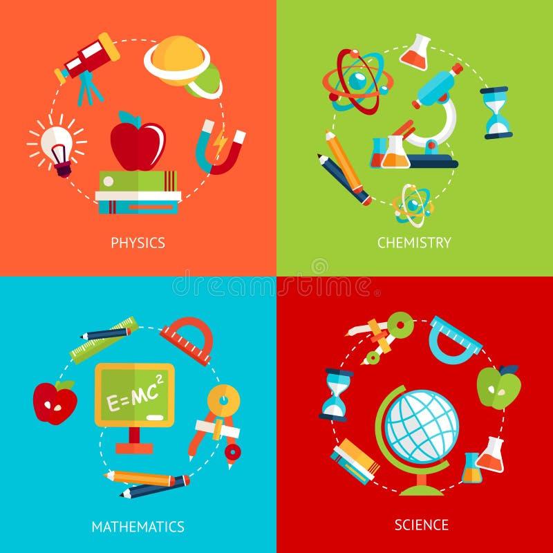 Utbildningssymboler sänker vektor illustrationer