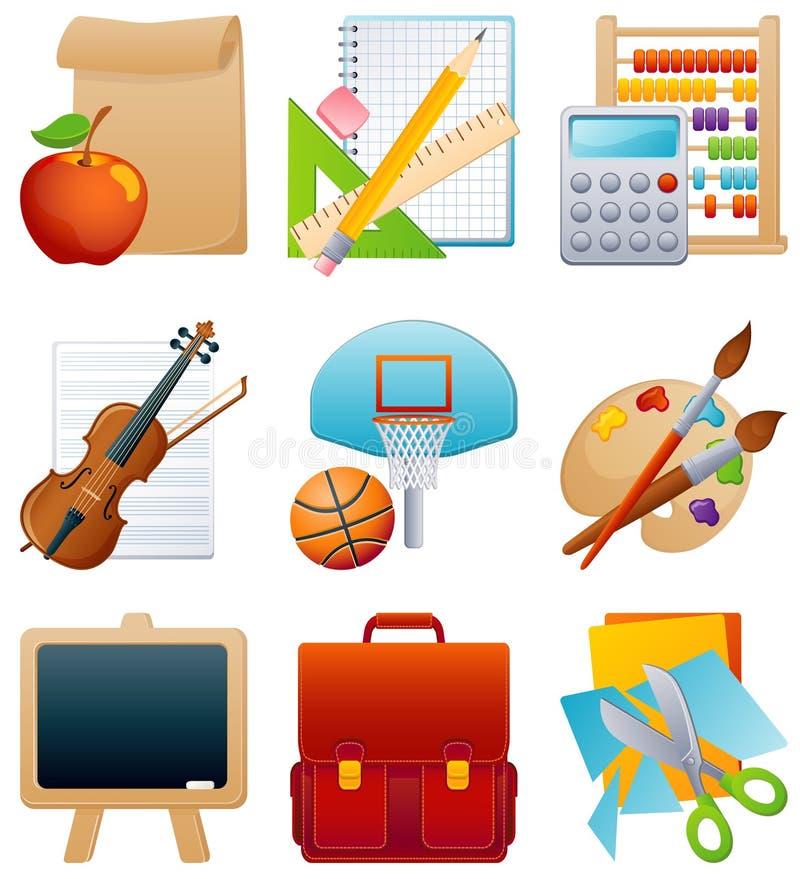 utbildningssymbolsset vektor illustrationer