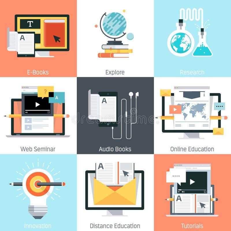 Utbildningstema, lägenhetstil som är färgrik, symbolsuppsättning stock illustrationer