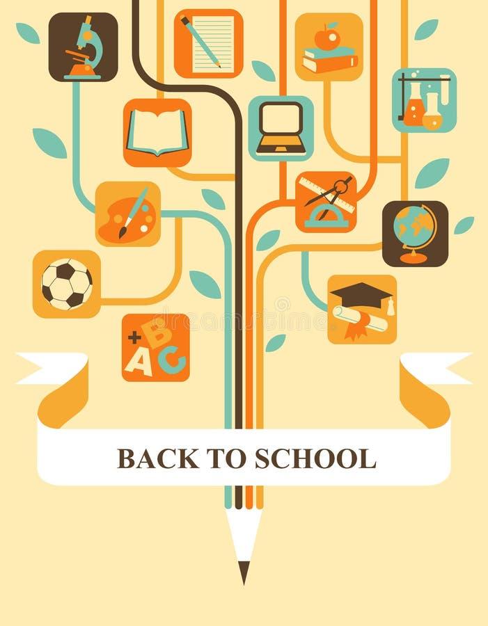 Utbildningsträd stock illustrationer