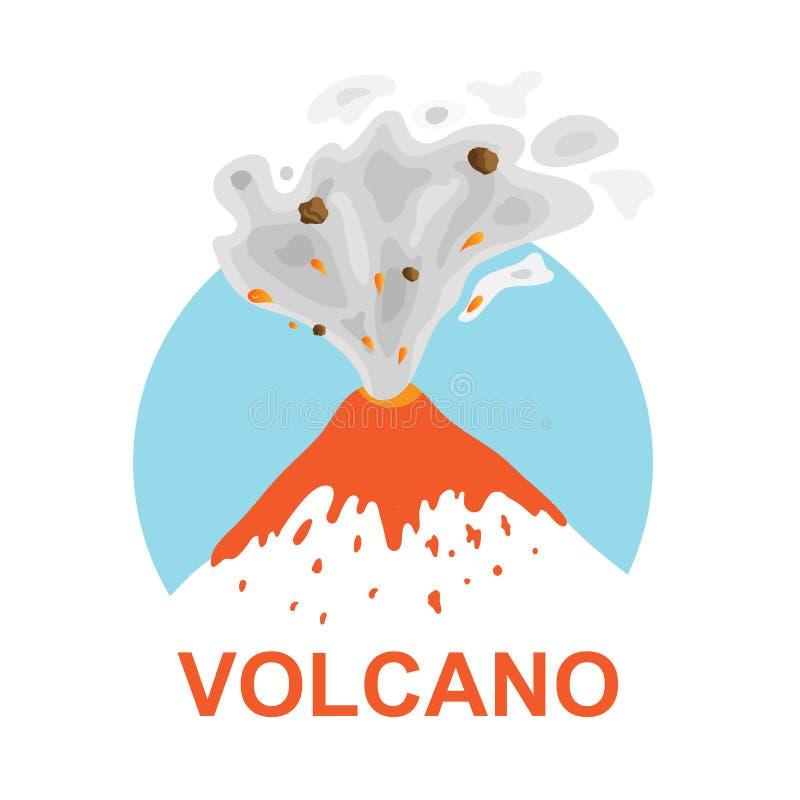 Utbrott av en vulkan, vektorlogo vektor illustrationer