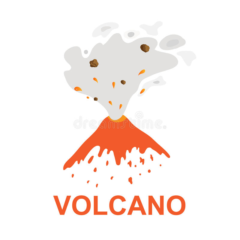 Utbrott av en vulkan, vektorlogo stock illustrationer