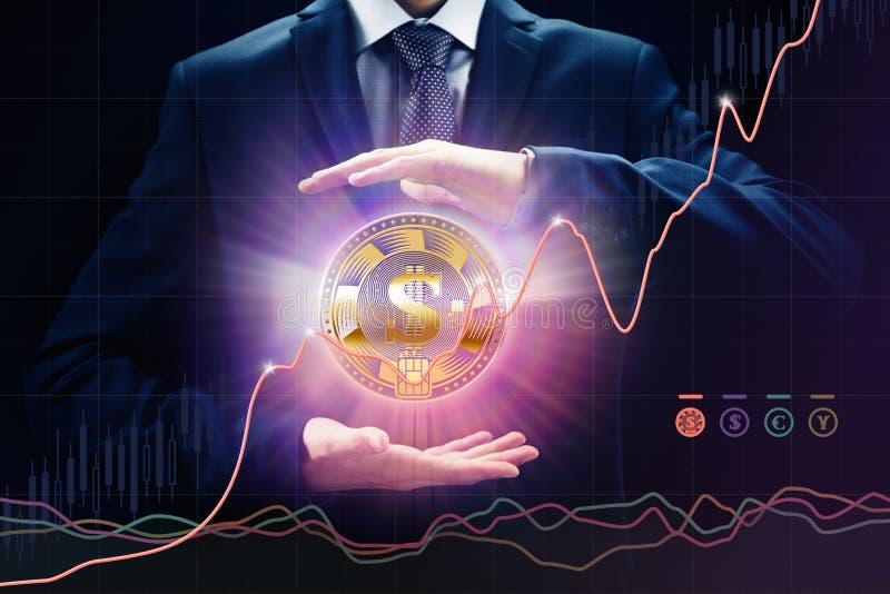 Utbyt det crypto valutabegrepp, försäljningar och köpet, tillväxttakten, bitE-kommers mynt fotografering för bildbyråer