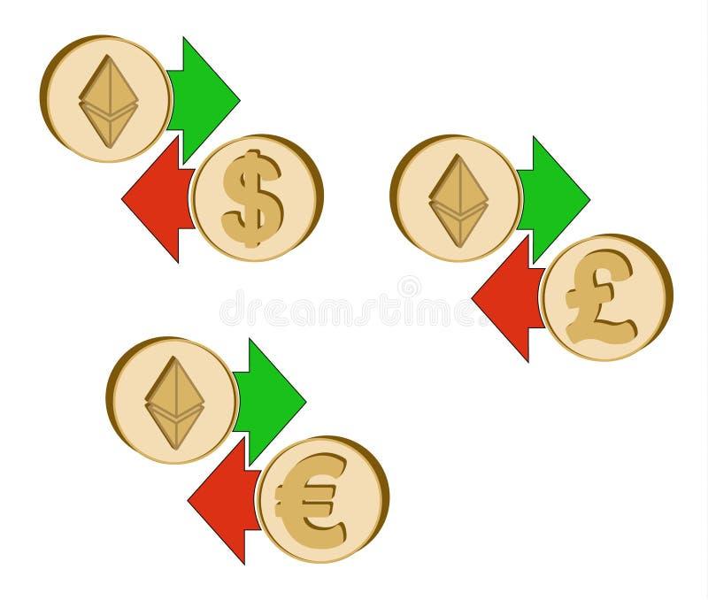 Utbyt ethereumen till dollaren, euroet och brittisk poun stock illustrationer
