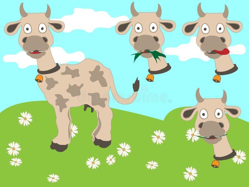 utbytbara roliga huvud för ko vektor illustrationer