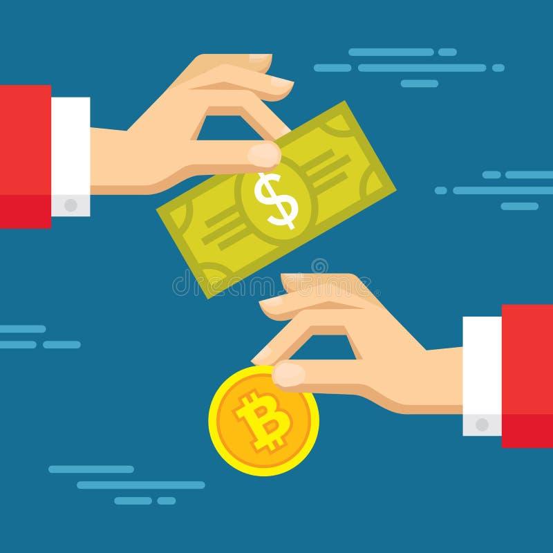 Utbyte av den digitala valutabitcoin och dollaren - vektorbegreppsillustration i plan stil Människan räcker banret stock illustrationer