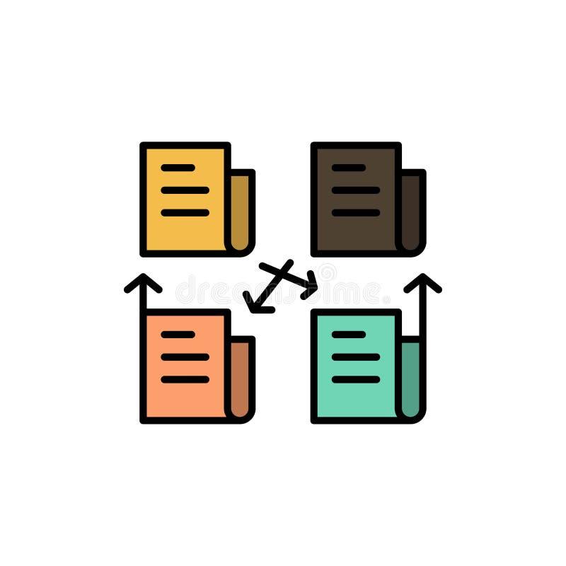 Utbyte mapp, mapp, data, plan färgsymbol för avskildhet Mall för vektorsymbolsbaner vektor illustrationer
