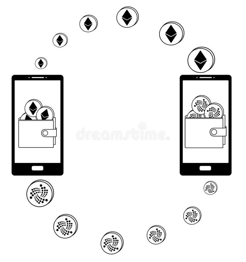 Utbyte mellan ethereumen och jotan i telefonen stock illustrationer