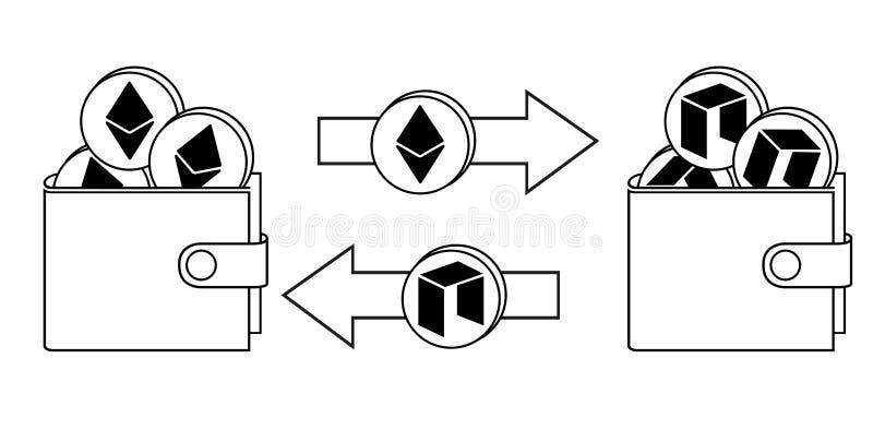 Utbyte mellan ethereumen och neo i plånboken stock illustrationer