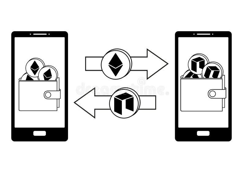 Utbyte mellan ethereumen och neo i telefonen stock illustrationer