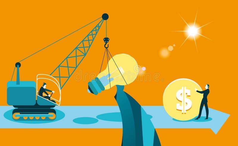 Utbytesidéer på pengar affär isolerad metaforwhite stock illustrationer