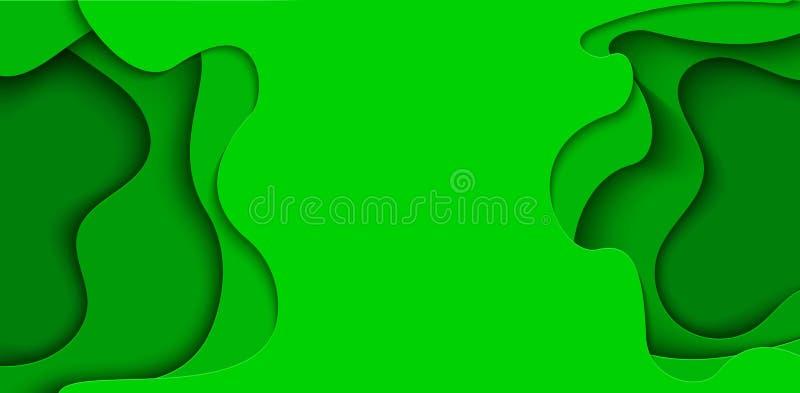Utdrag av grön flygare i pappersformat Skruva gräsvågsmall för att spara jordaffischer, miljöbroschyrer royaltyfri illustrationer