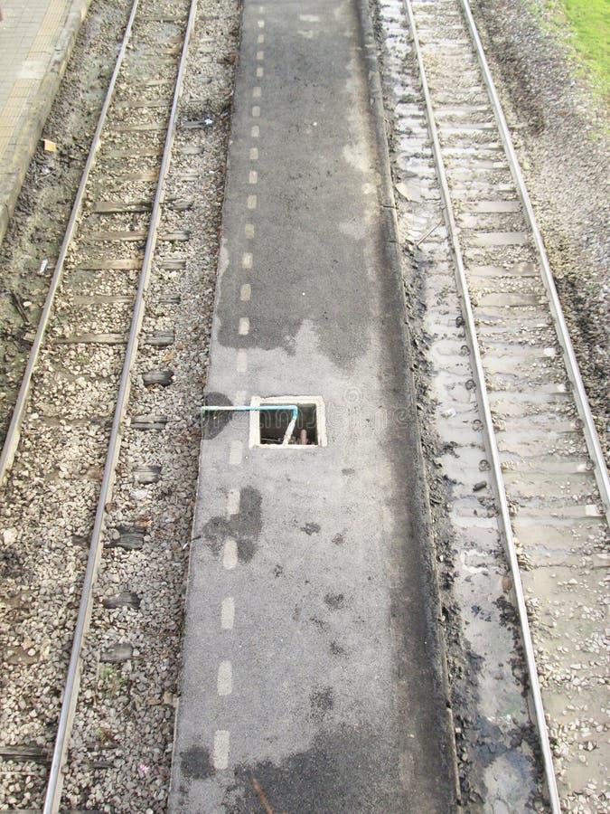 Utdrag av järnvägen spårar, och drevet posterar plattformen, som beskådat från direkt över royaltyfri fotografi
