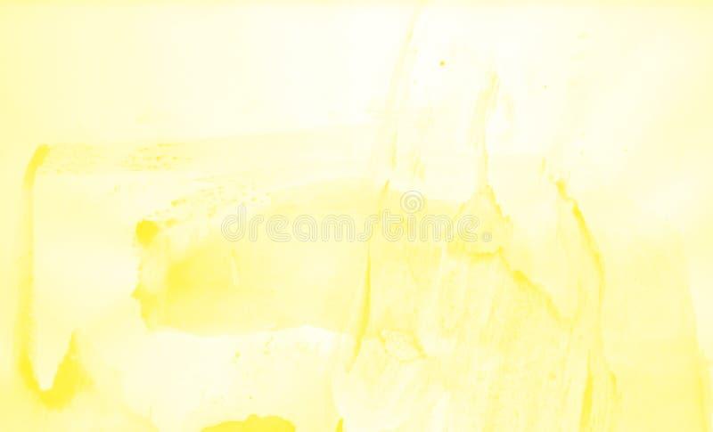 Utdrag av vattenfärgsbakgrund, handdragen på papper Gul färg stock illustrationer