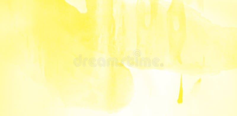 Utdrag av vattenfärgsbakgrund, handdragen på papper Gul färg royaltyfri illustrationer