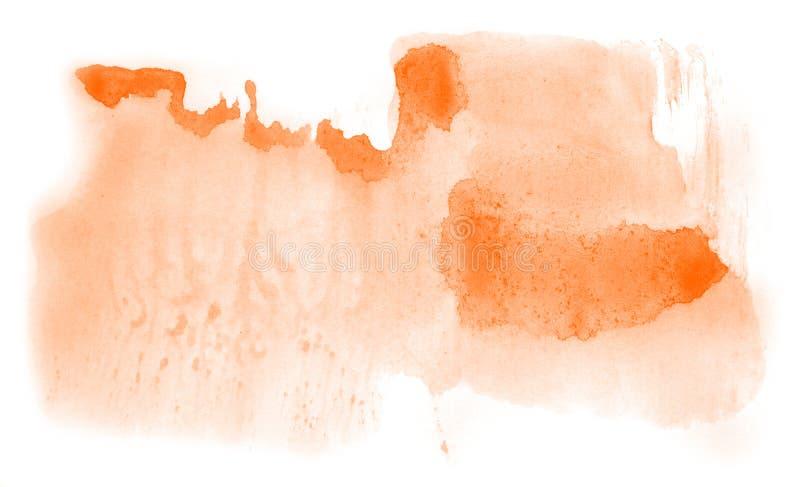 Utdrag av vattenfärgsbakgrund, handdragen på papper Orange färg royaltyfri illustrationer
