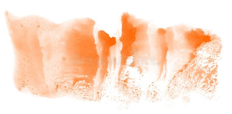 Utdrag av vattenfärgsbakgrund, handdragen på papper Orange färg stock illustrationer