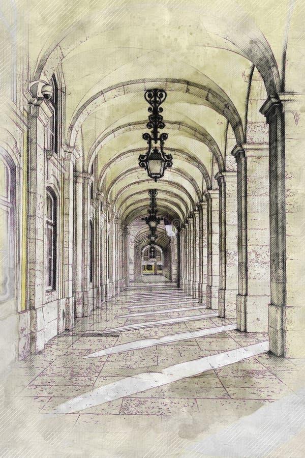 Utdrag från en fyrkant av Lissabon royaltyfri fotografi