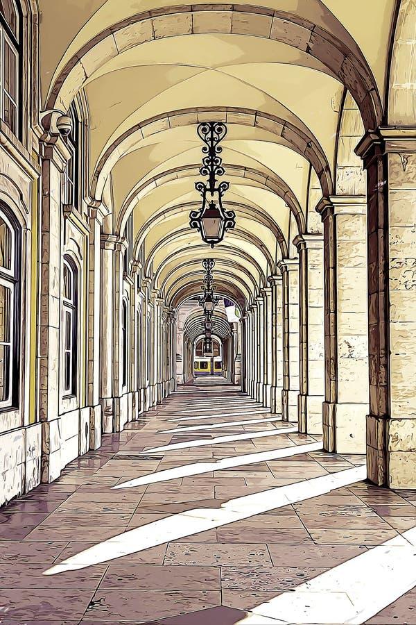 Utdrag från en fyrkant av Lissabon arkivfoto