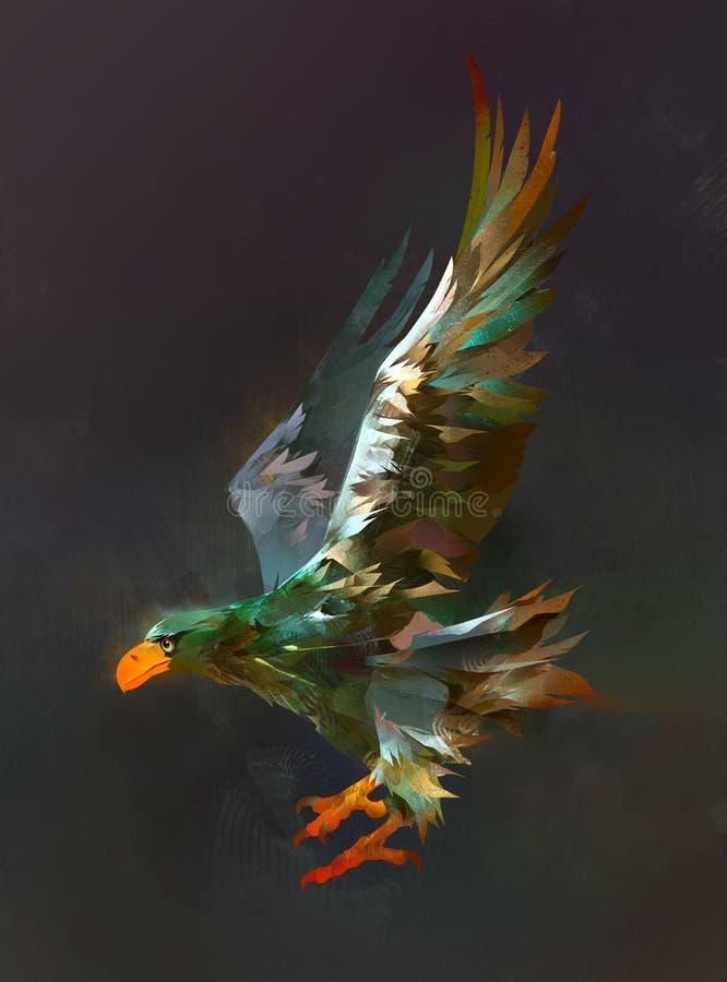 Utdragen örn för flygfågel på en mörk bakgrund stock illustrationer