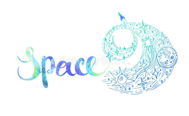 Utdragen abstrakt stiliserad galaktiskt spiral för hand med stjärna- och borsteslaglängdbokstäver med inspiration, motivation stock illustrationer